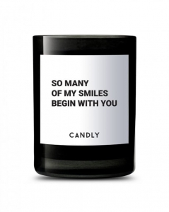 "CANDLY & Co :: Świeca wegańska ""So many of my smiles begin with you"""