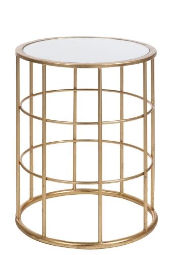 J Line Stolik Kawowy Dekoracyjny Bars Gold Metal Szkło 46x40x40 Cm Złoty Jl77174