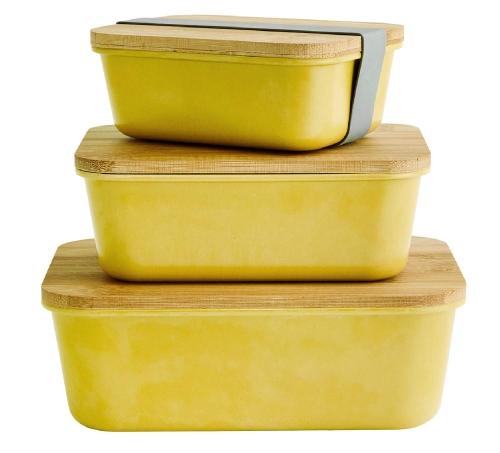 Madam Stoltz Prostokątne Pojemniki Z Przykryciem Belgrad żółty Naturalny Zestaw Kuchnia Bambus Hh1914yb W
