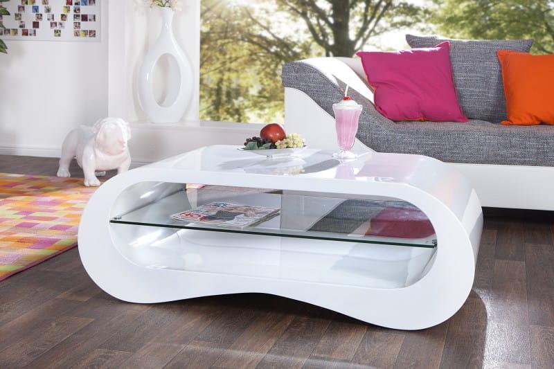 Interior Stolik Kawowy Polar White 110 Cm Nowoczesny Ze Szklaną Półką Biały Z21104
