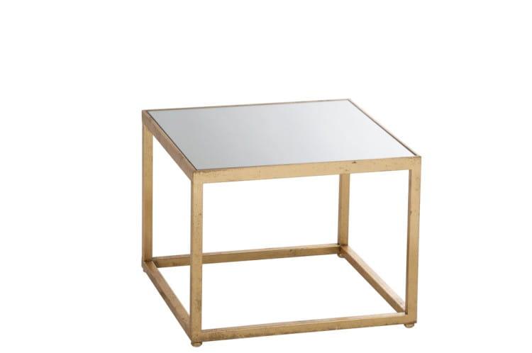 Home Design Stolik Kawowy Kwadratowy Metal Szkło 37x47x47 Cm Jl77175